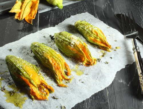 Zucchini flowers stuffed with eggplant pâté